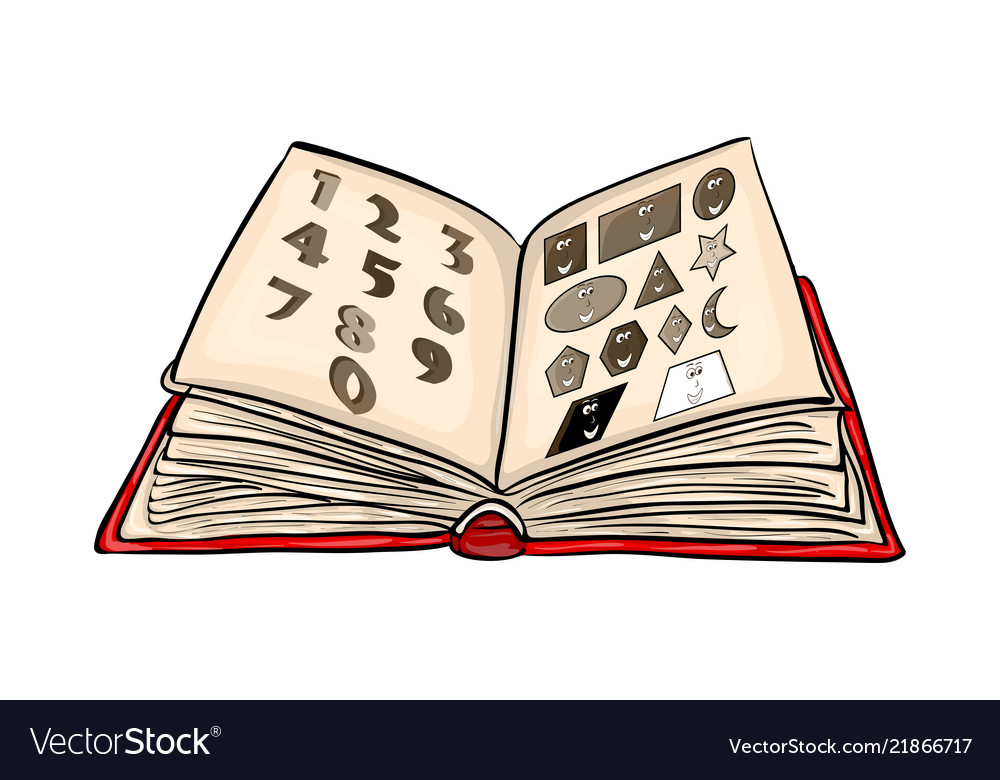 Open book cartoon with numbers and shapes
