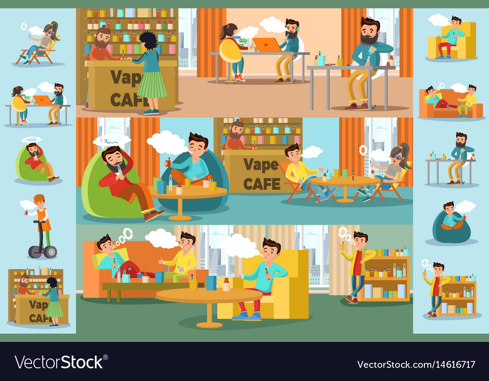 People in vape cafe infographic template vector image