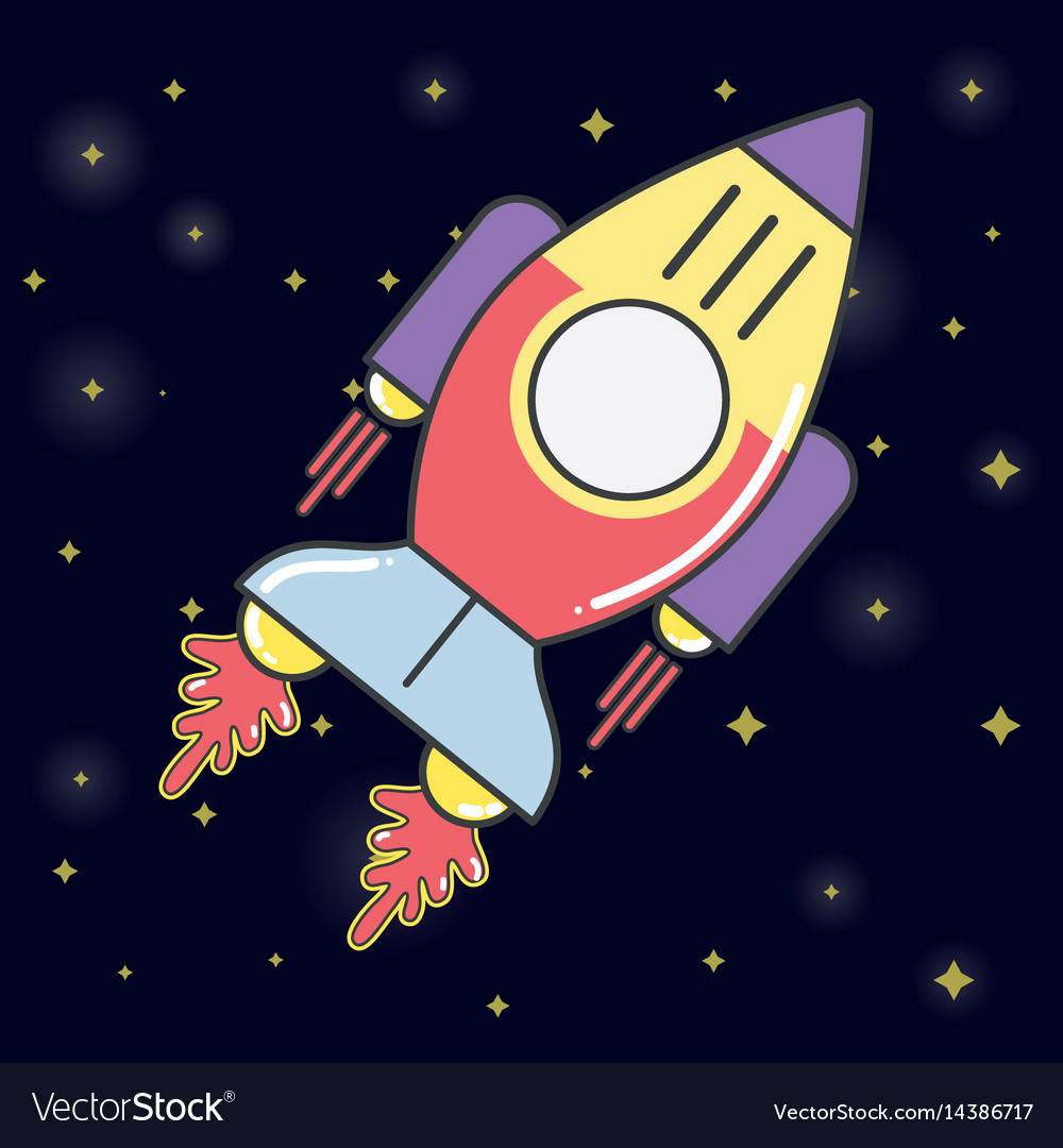 Rocket in the galaxy space exploring the universe