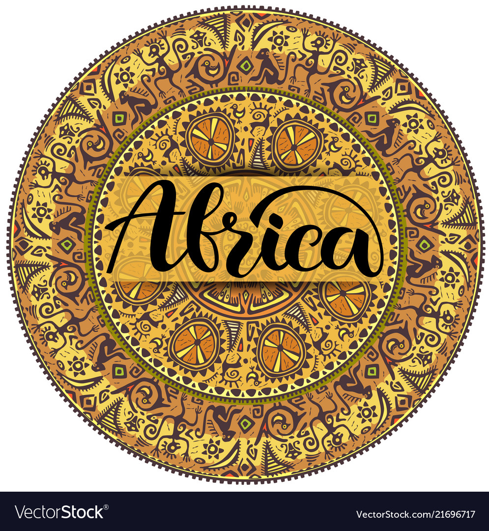 Round seamless ornament in ethnic style logo