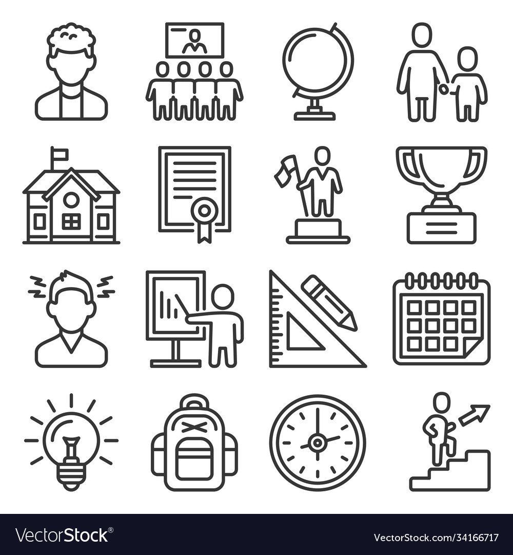 School and education icons set on white background