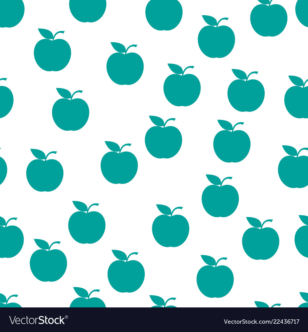 Seamless pattern from green ripe apples with a
