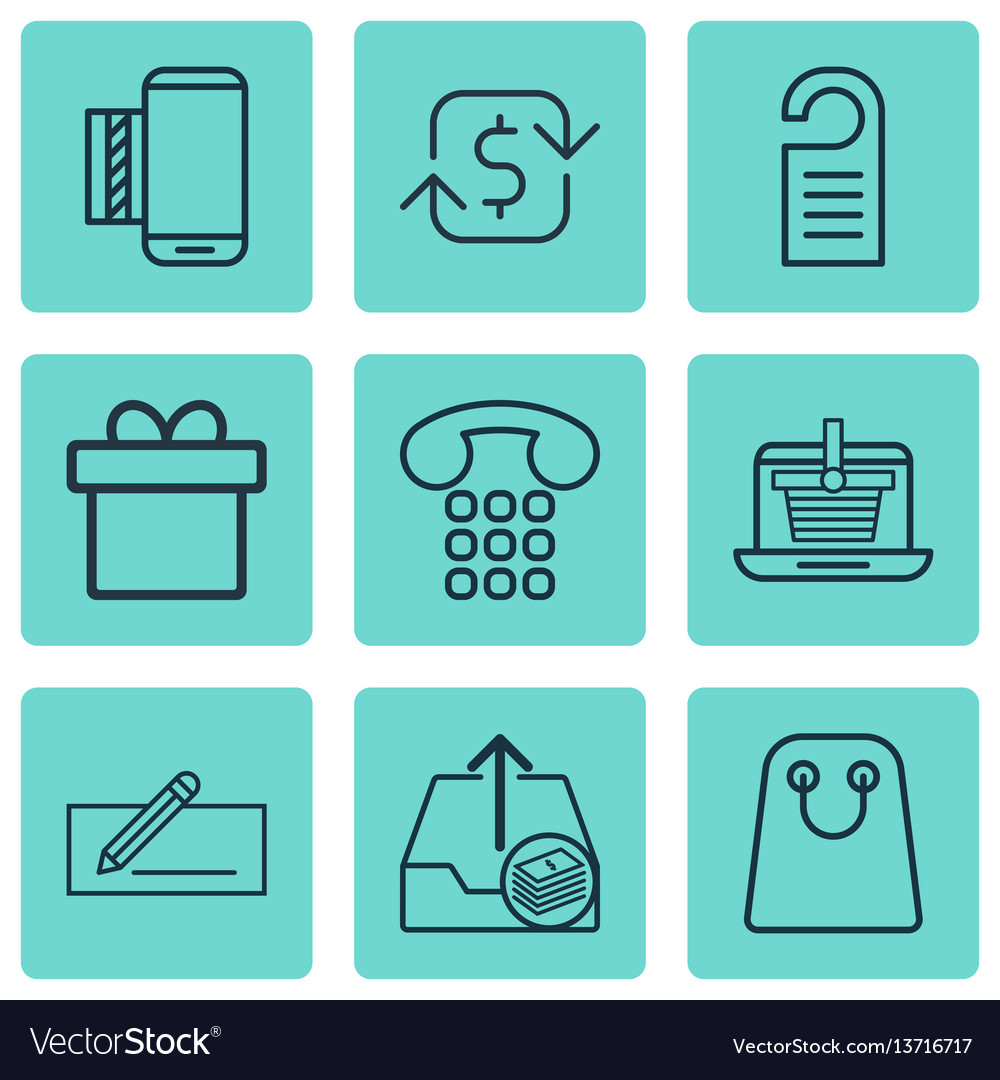 Set of 9 commerce icons includes mobile service vector image