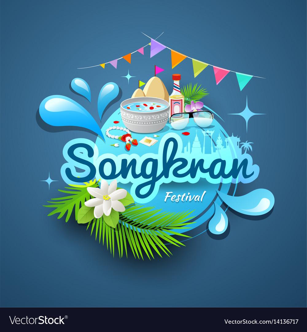 Songkran festival of thailand logo design