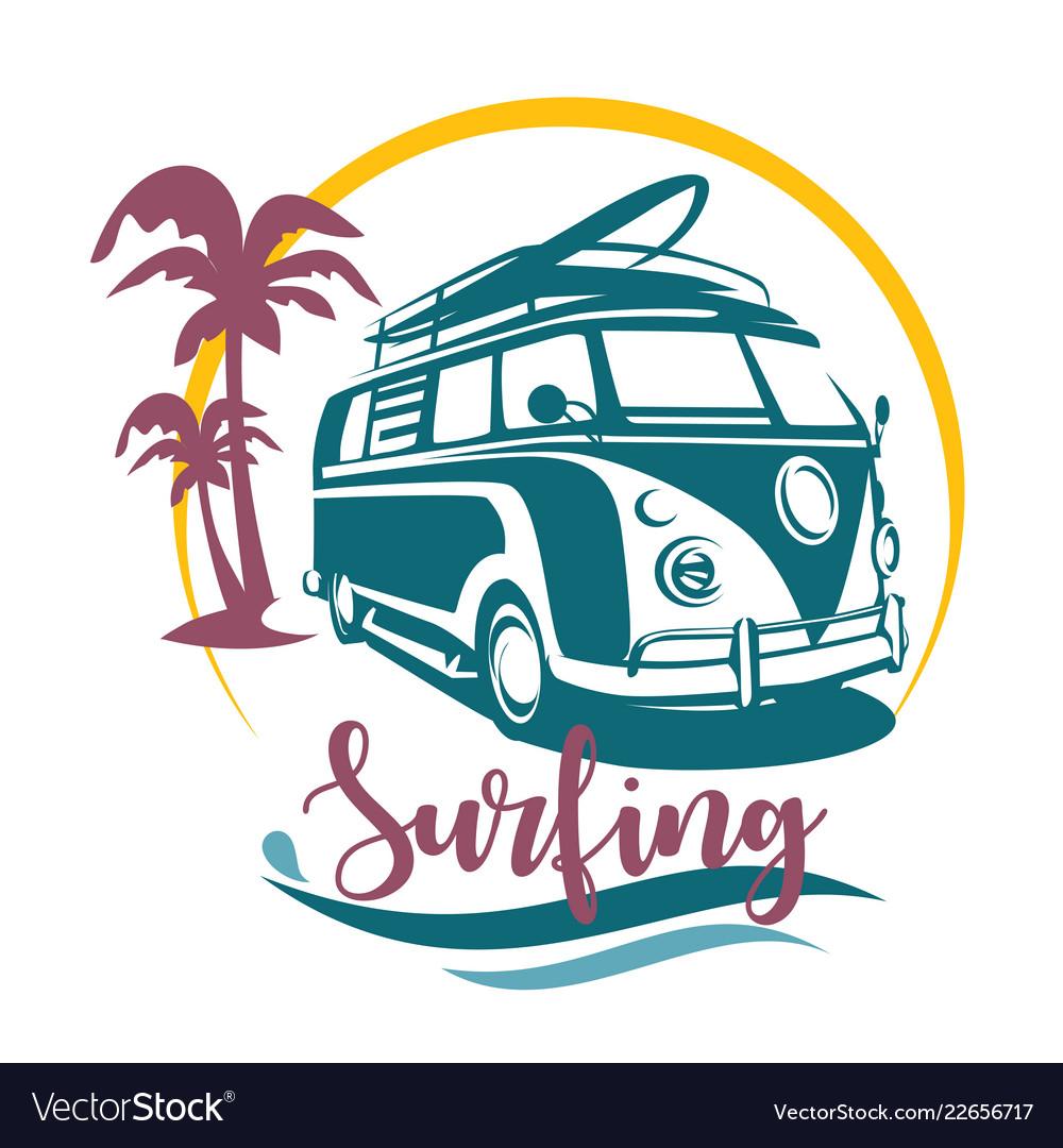 Surfing camper stylized symbol design elements