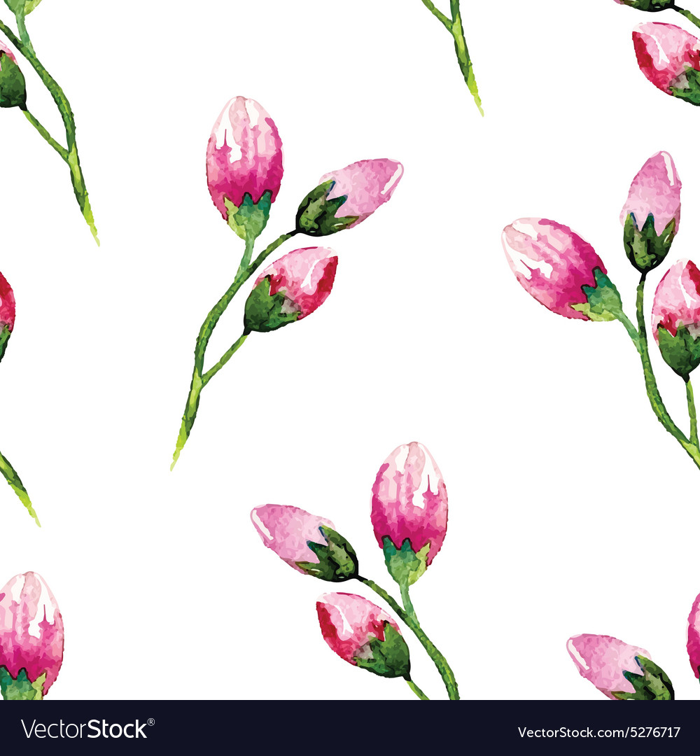 Watercolor painting with Rose flowers Seamless