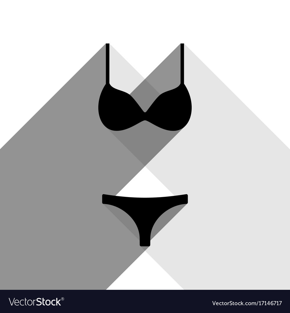 d50bb67bae364 Women swimsuit sign black icon with two Royalty Free Vector