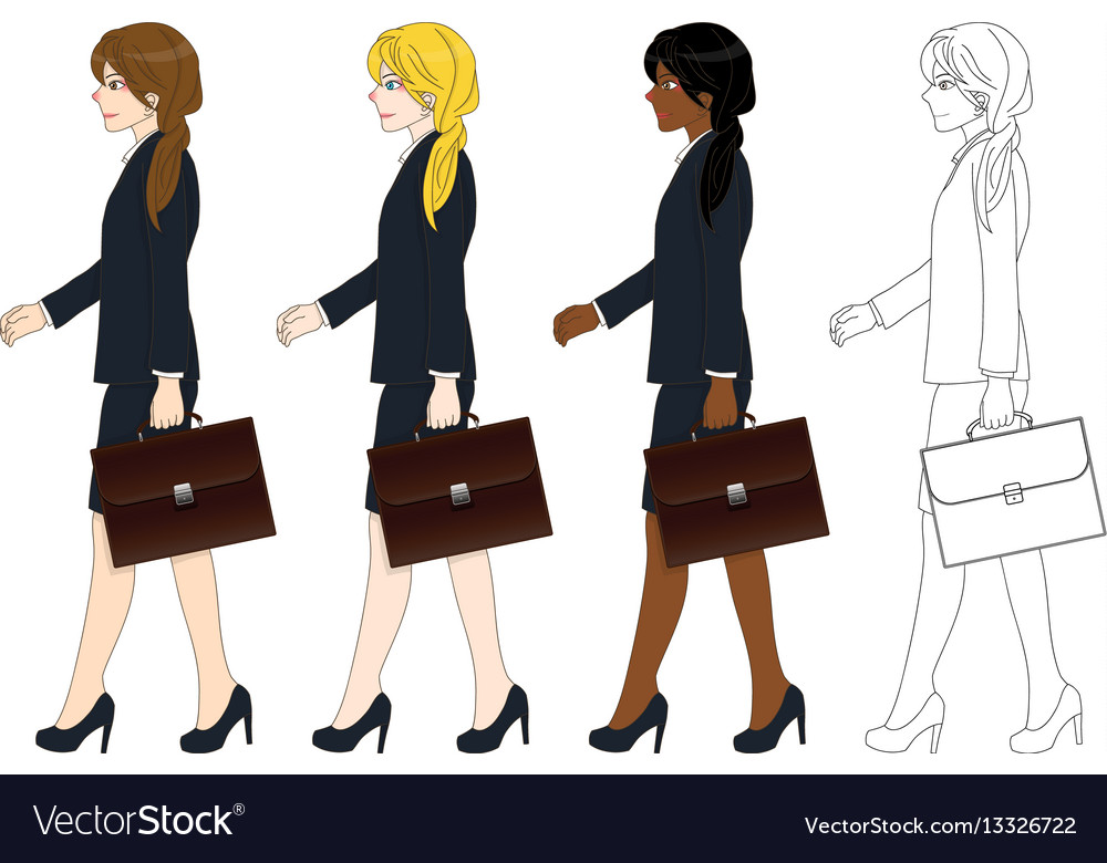Business woman walking and holding briefcase