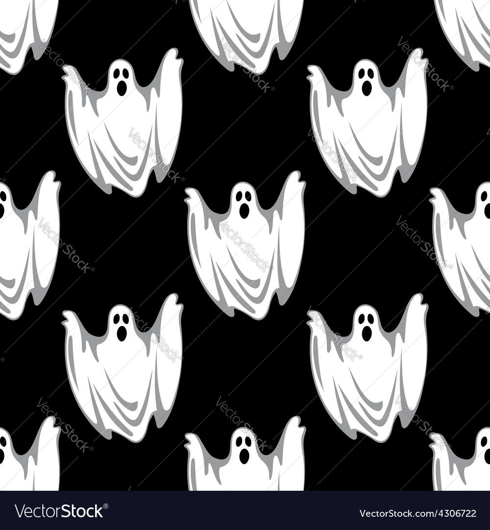 Cartoon scary ghosts in halloween seamless pattern cartoon scary ghosts in halloween seamless pattern vector image publicscrutiny Images