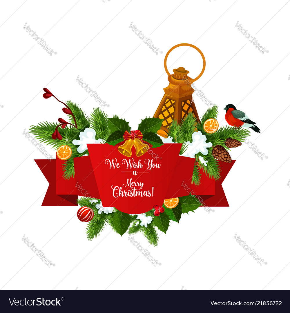 Christmas Tree Garland With Ribbon Banner Vector Image