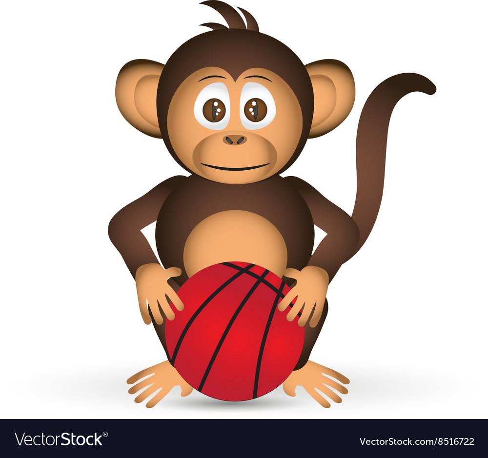 Cute chimpanzee with basketball ball sport little