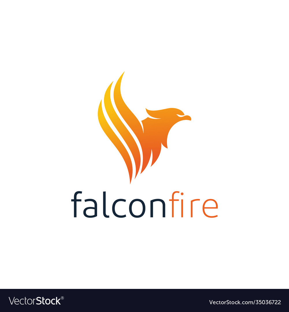 Eagle with fire flame logo design