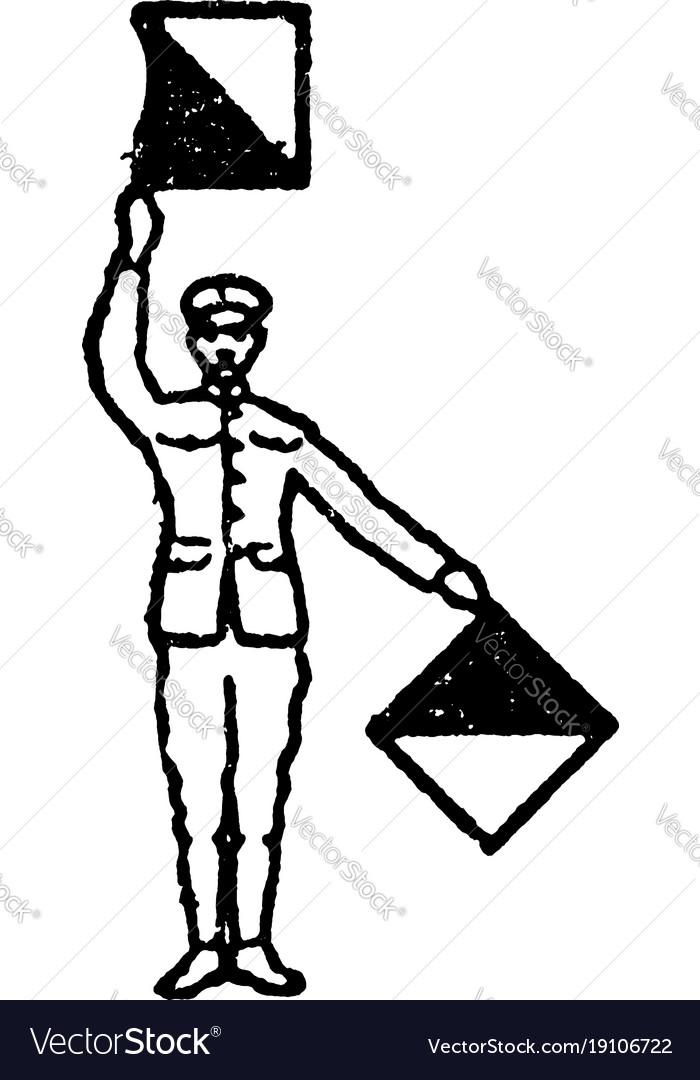 Flag signal for letter v vintage