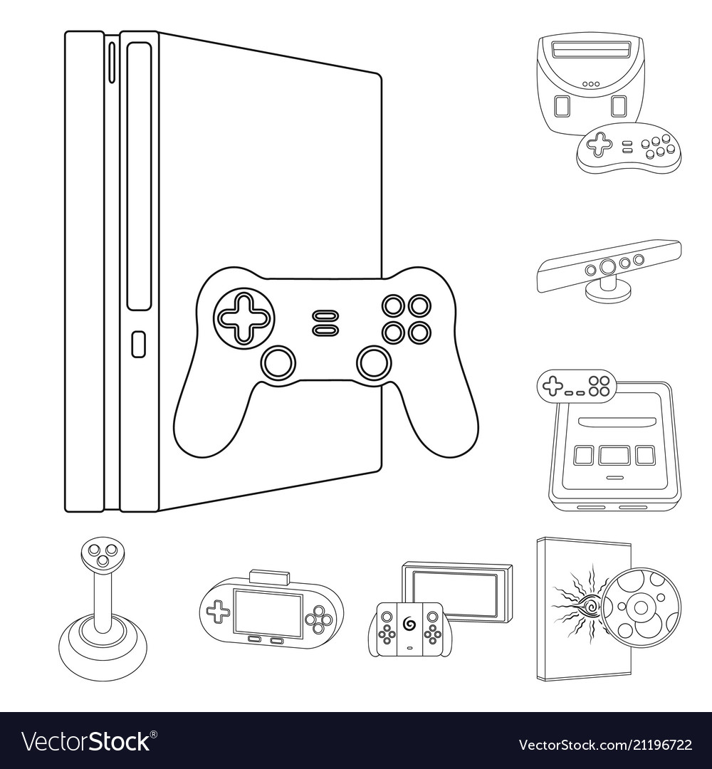 Game Console And Virtual Reality Outline Icons In Vector Image - Video game outline