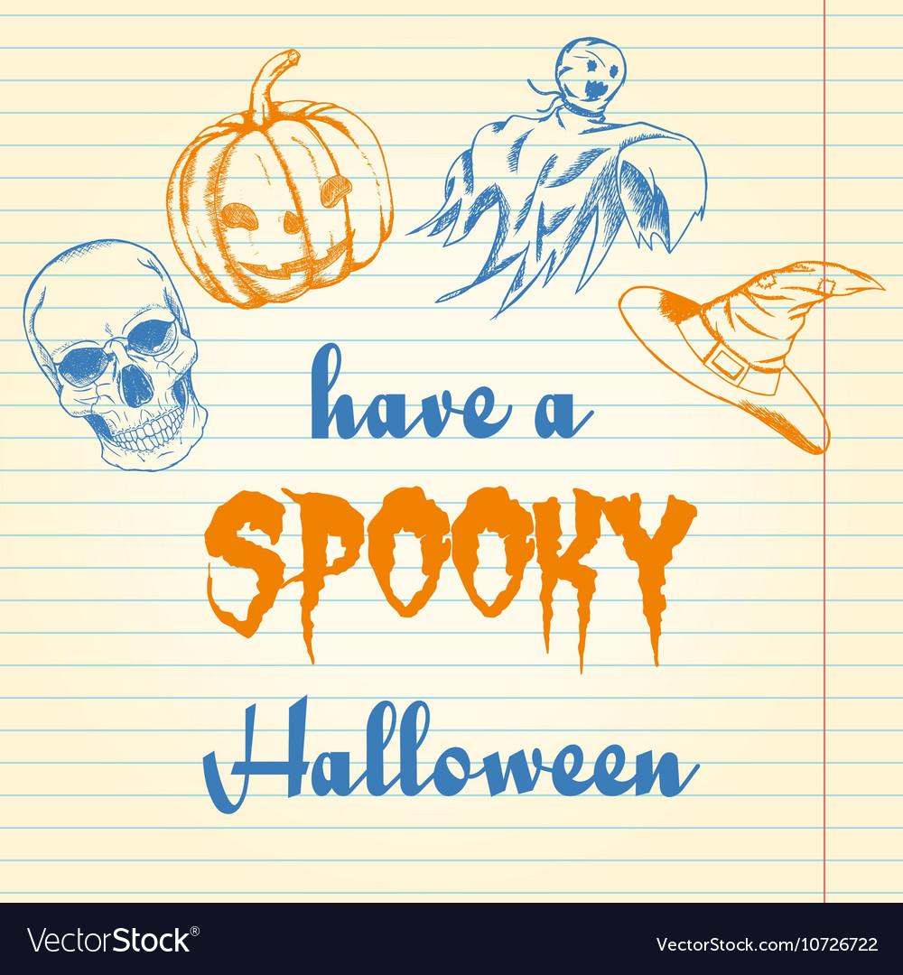 Halloween doodle - pumpkin ghost hat and skull