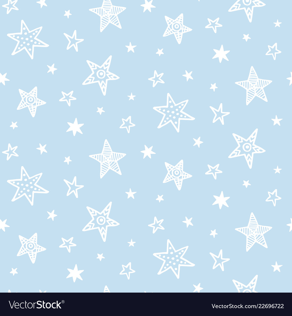 Hand drawn stars doodles seamless pattern