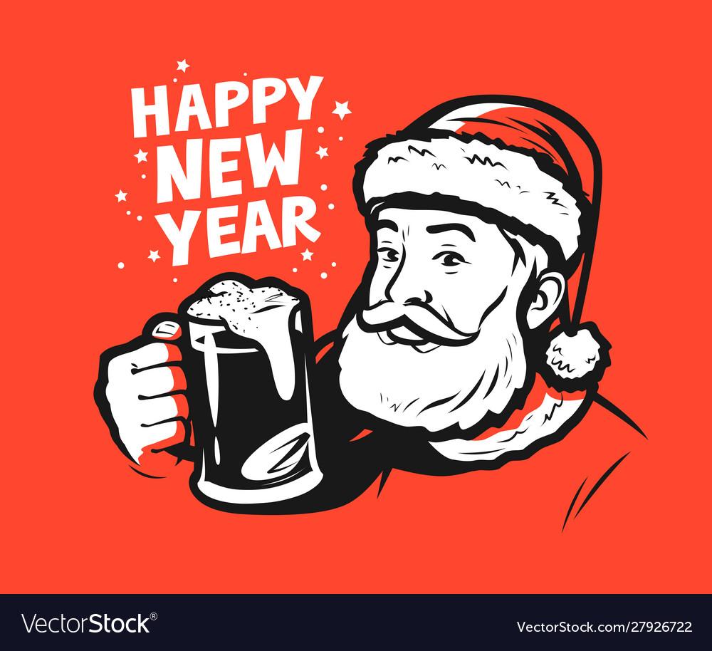 Happy new year santa claus pop art style