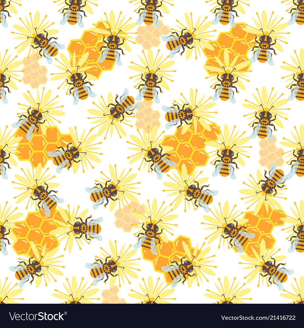 Honey jar seamless pattern with bee sketch