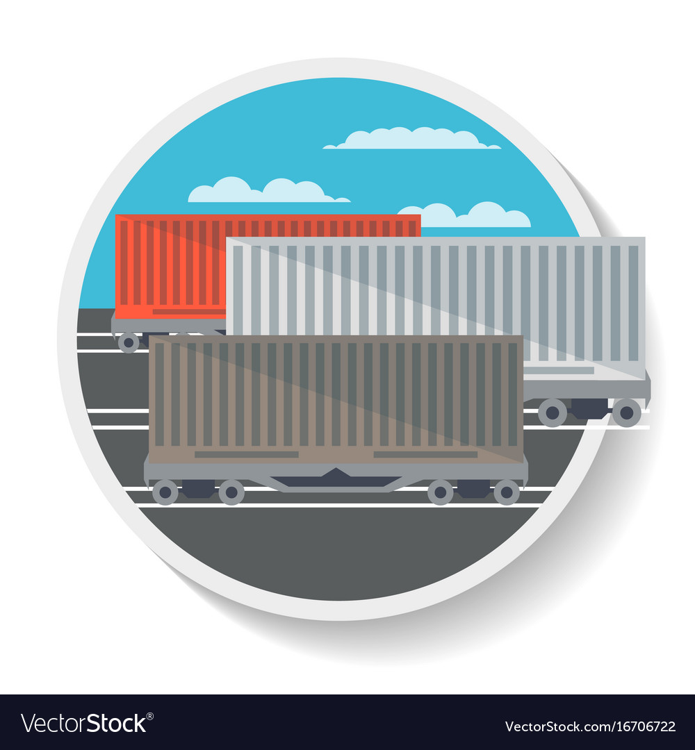 Logistics icon with commercial railway wagon