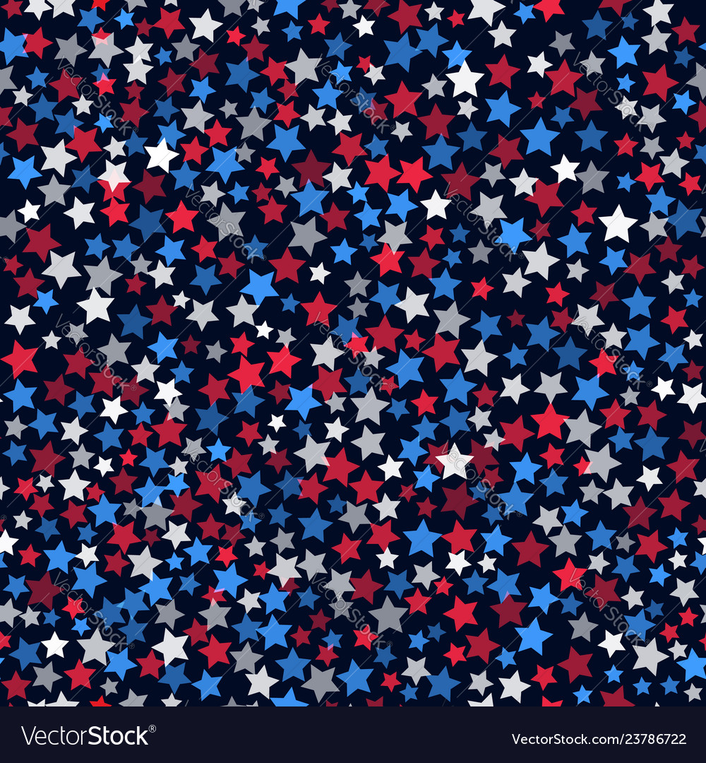 Seamless pattern with white red and blue five