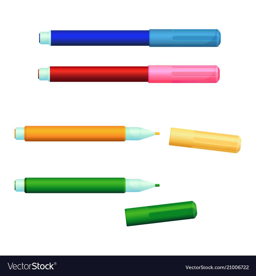 Set of color markers fineliner felt-tip pens with