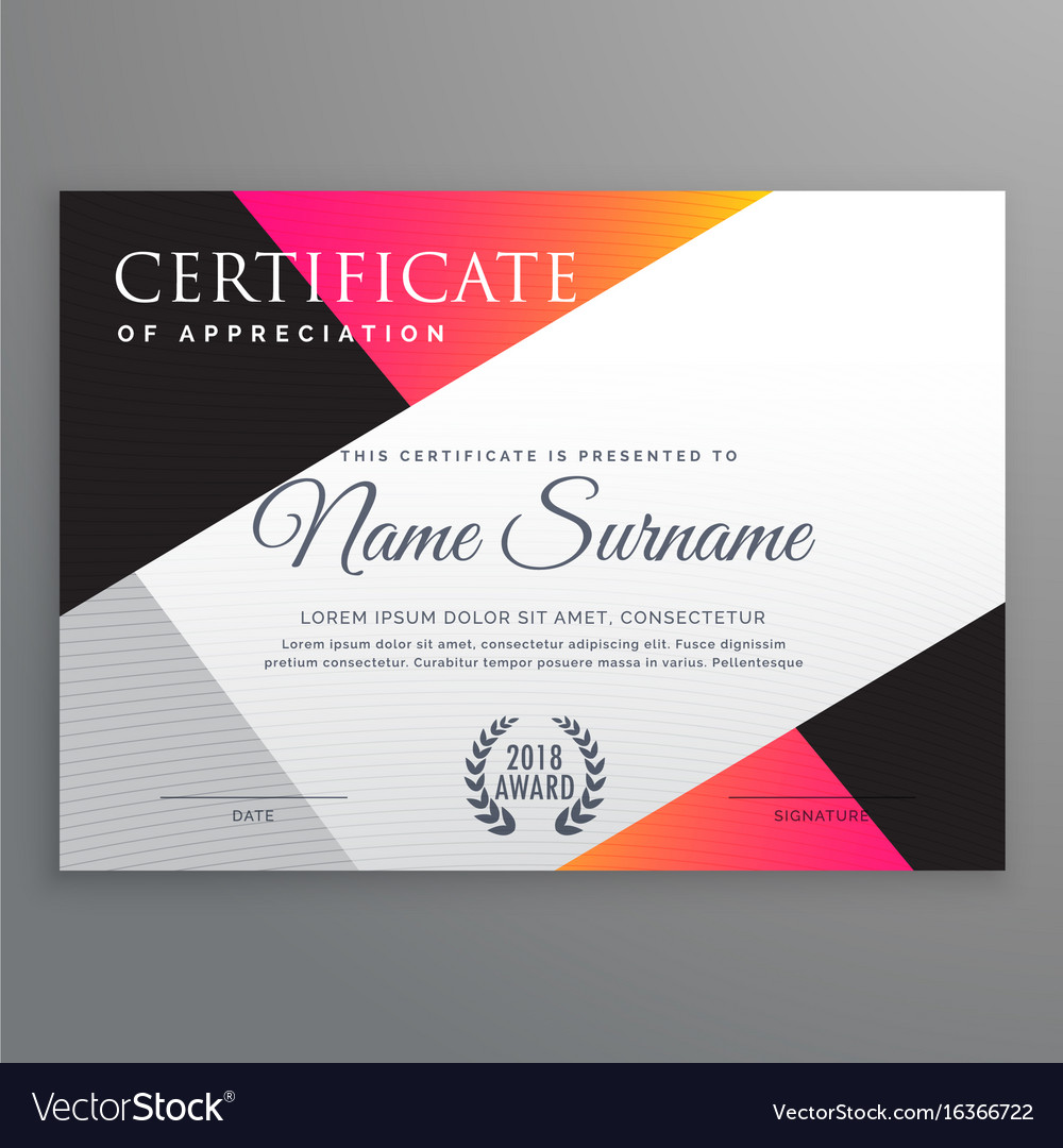 Stylish certificate design template with minimal vector image yadclub Gallery