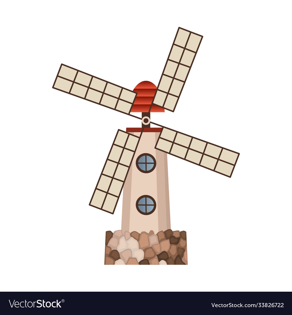 Traditional ancient european windmill building