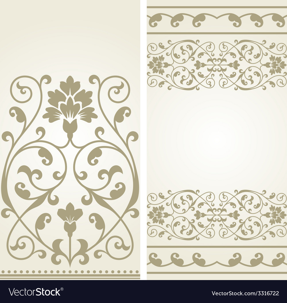 Two Vintage Greeting Cards Royalty Free Vector Image