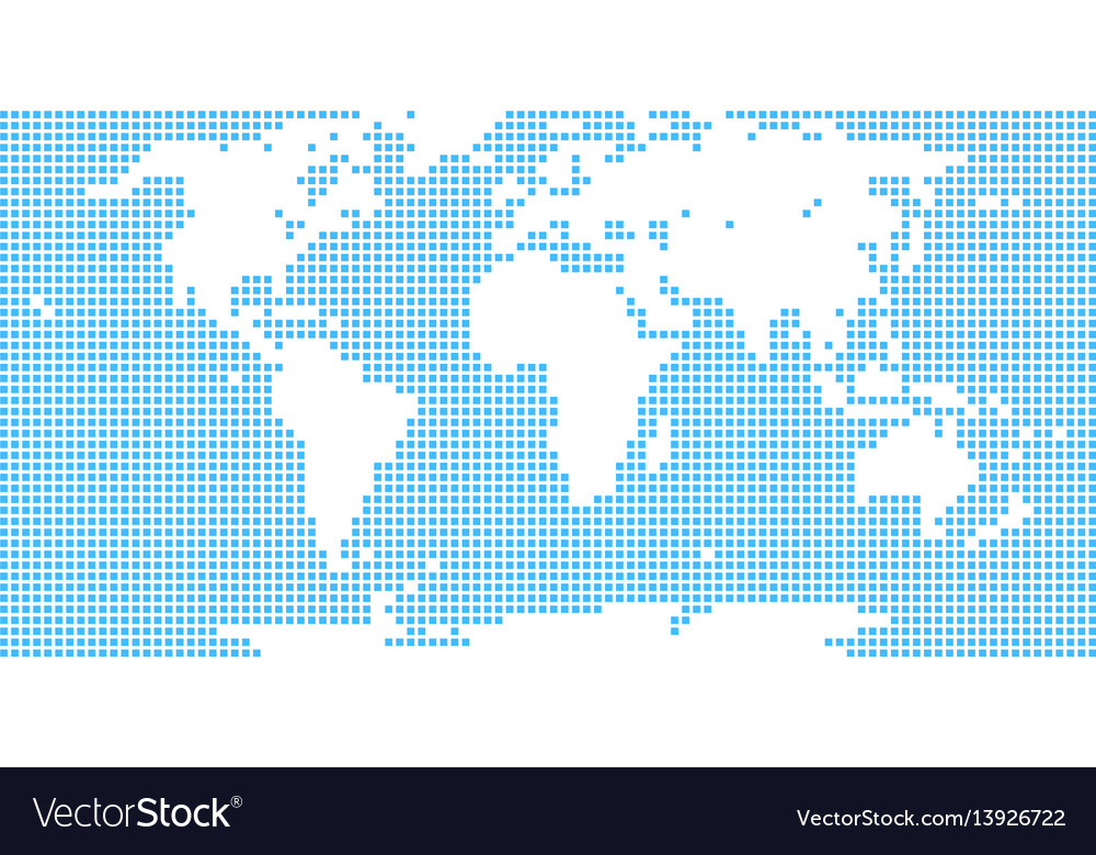 World map atlas dot square vector image