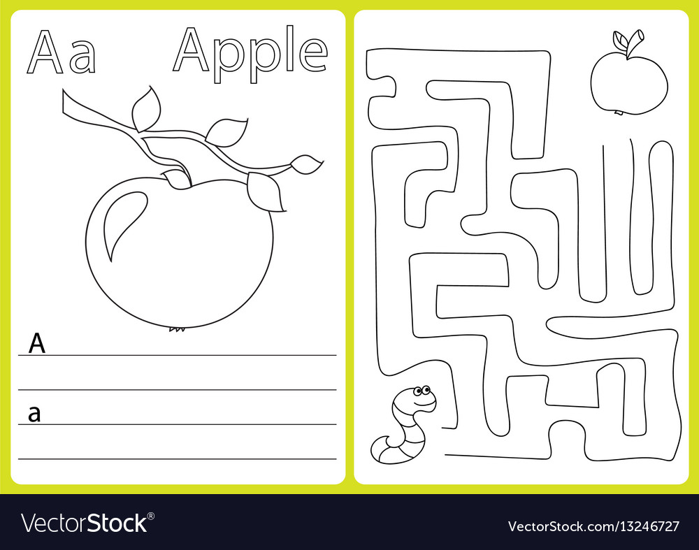 alphabet a z puzzle worksheet exercises for vector image