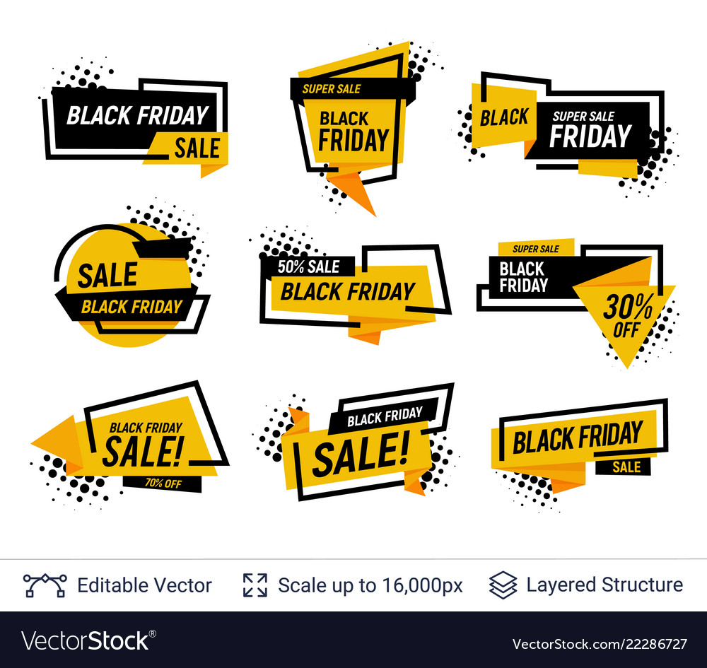 ffffd342e79b2 Black friday badges set geometric shapes and text Vector Image