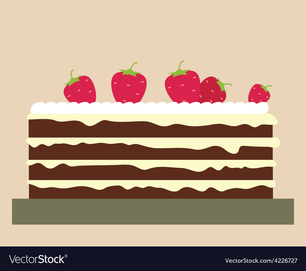 Cake with strawberries vector image