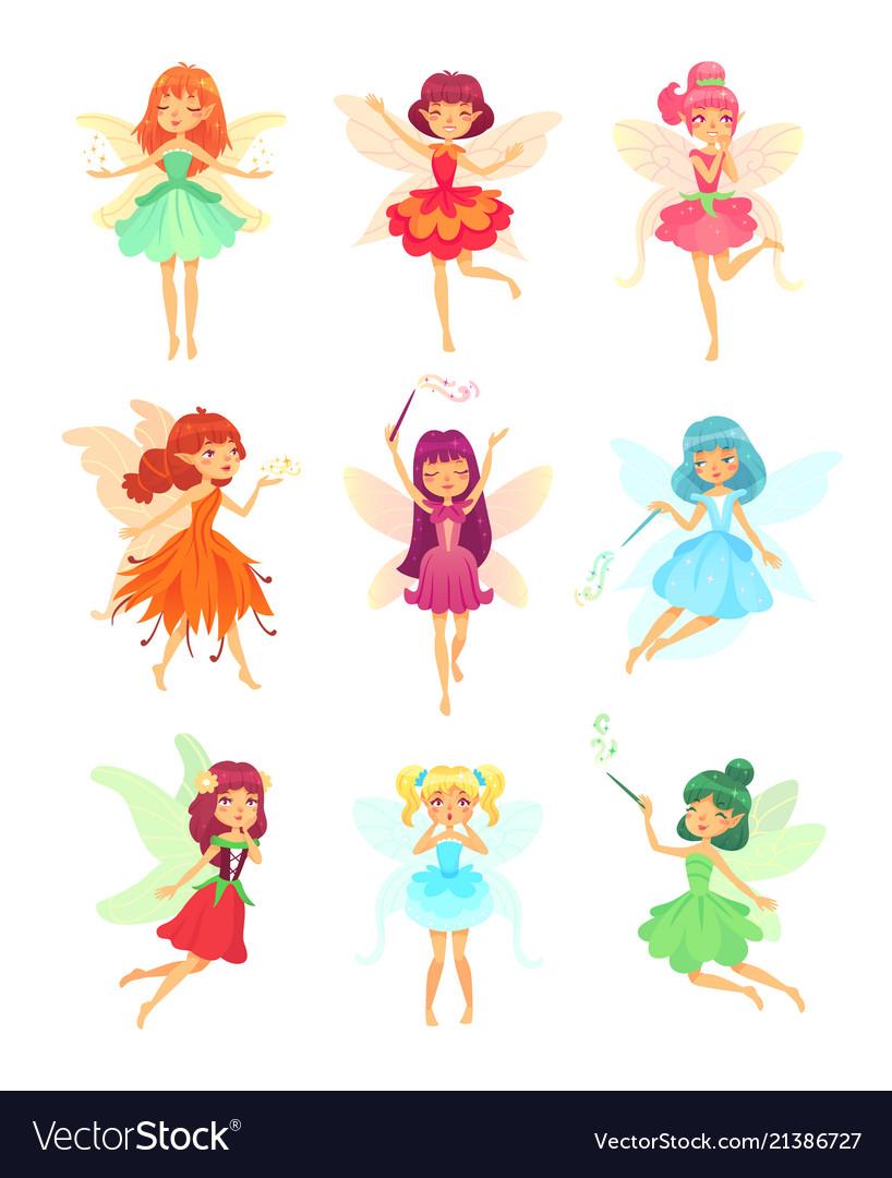 Cartoon Fairies Characters Fairy Creatures Vector Image