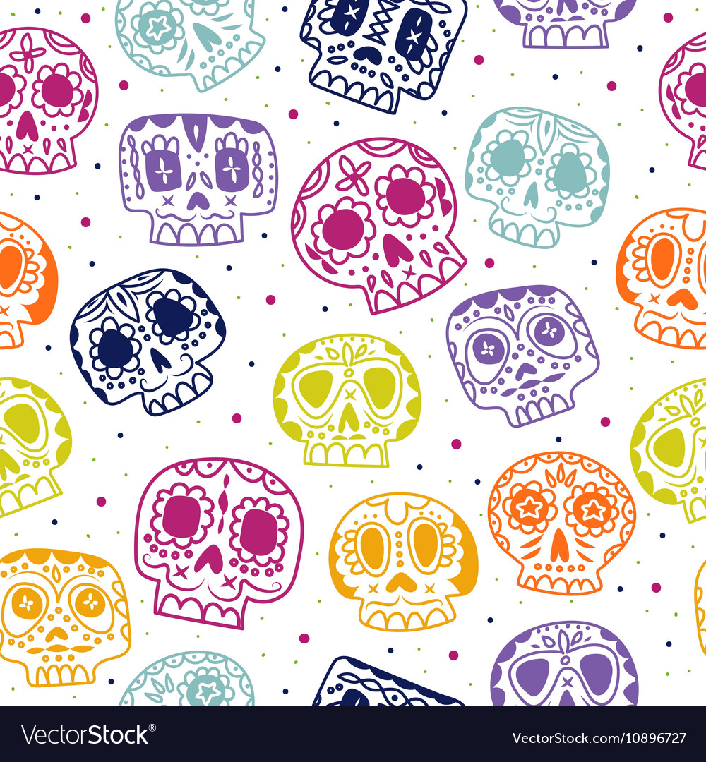 Cartoon flat Day of the Dead seamless