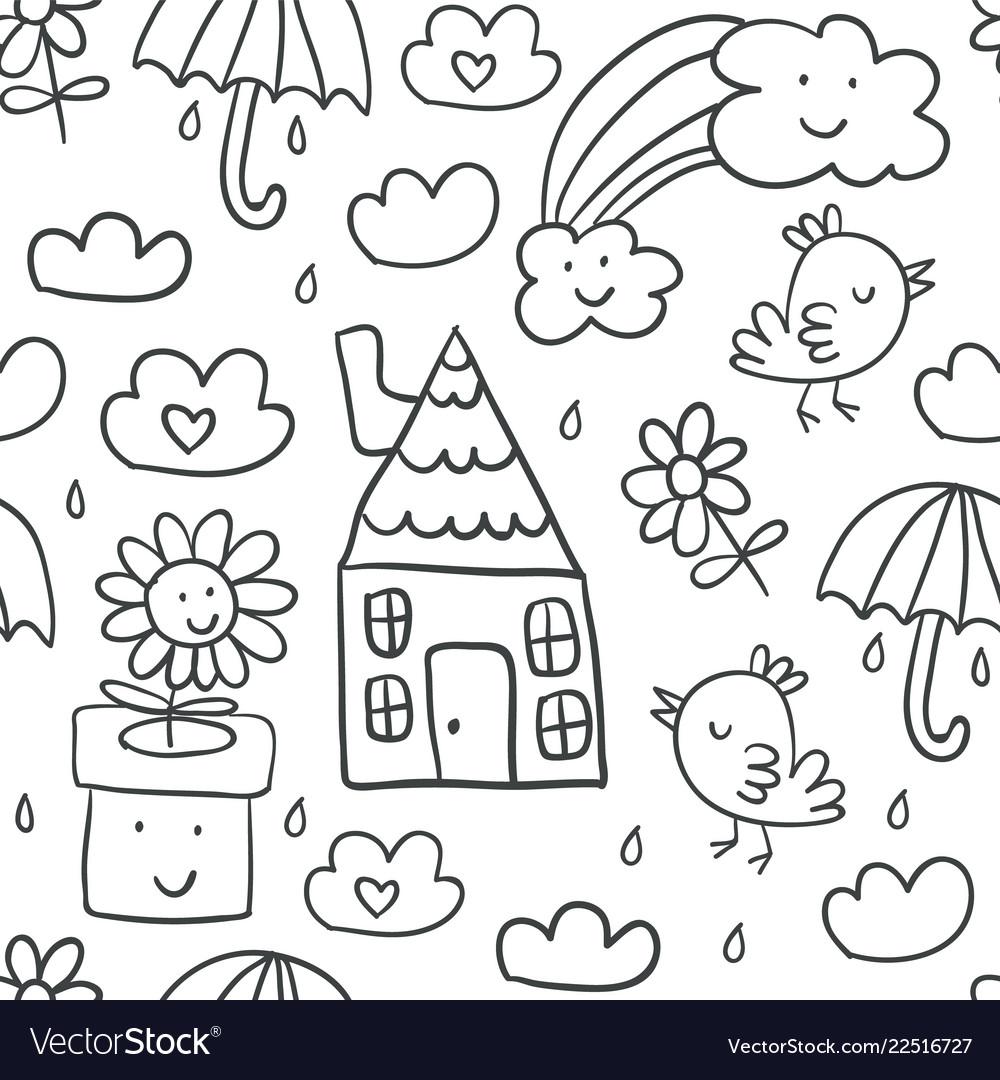 Cute childrens drawings seamless pattern