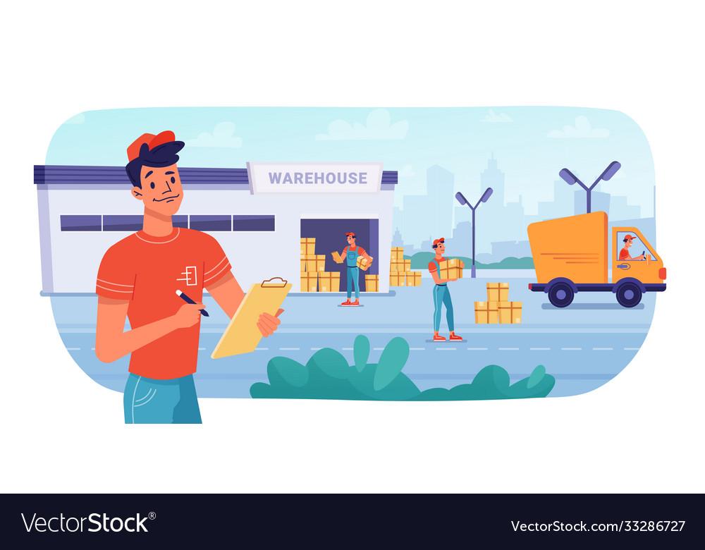 Delivery logistics warehouse parcel boxes deliver