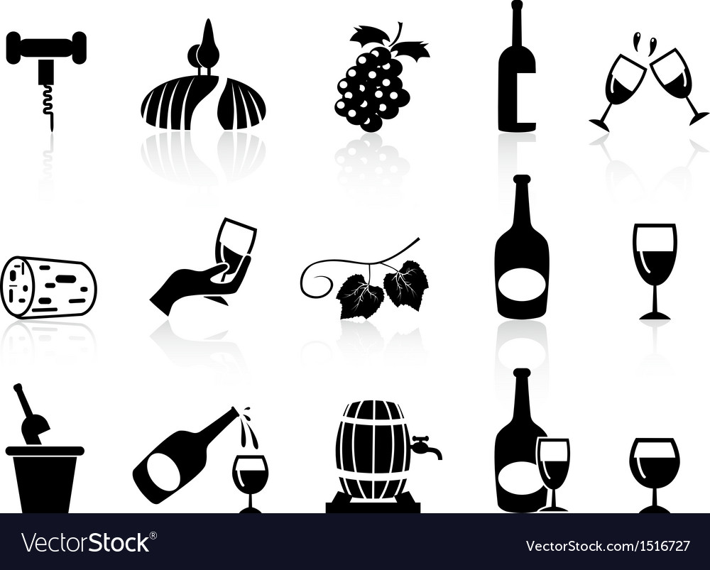Grape wine icons set