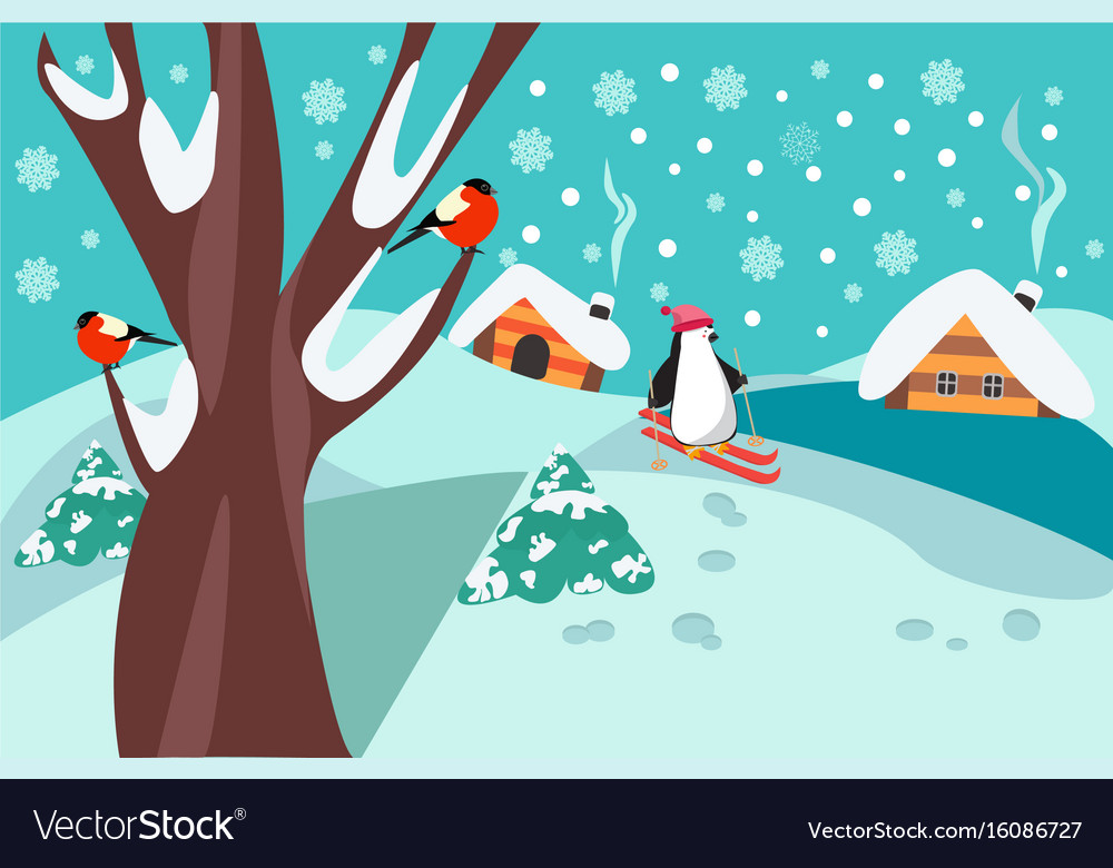 Happy holidays winter landscape with firs tree vector image
