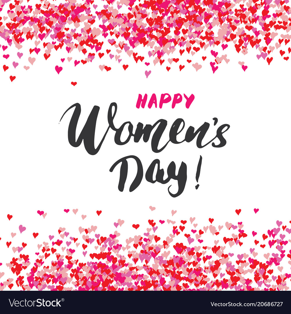 Happy Womens Day Greeting Card Hand Lettering Vector Image