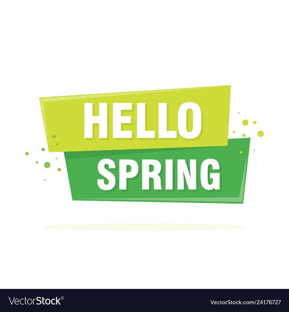 Hello spring lettering design in green