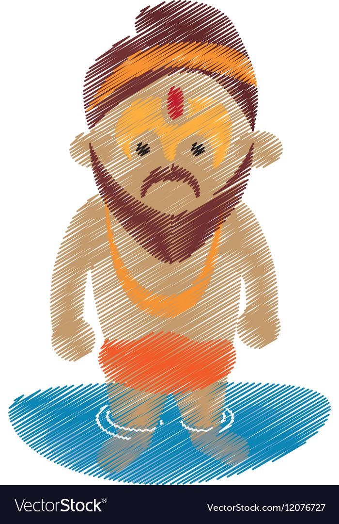 Holy man sadhu indian in river design
