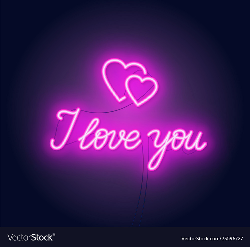 I love you neon lettering heart sign