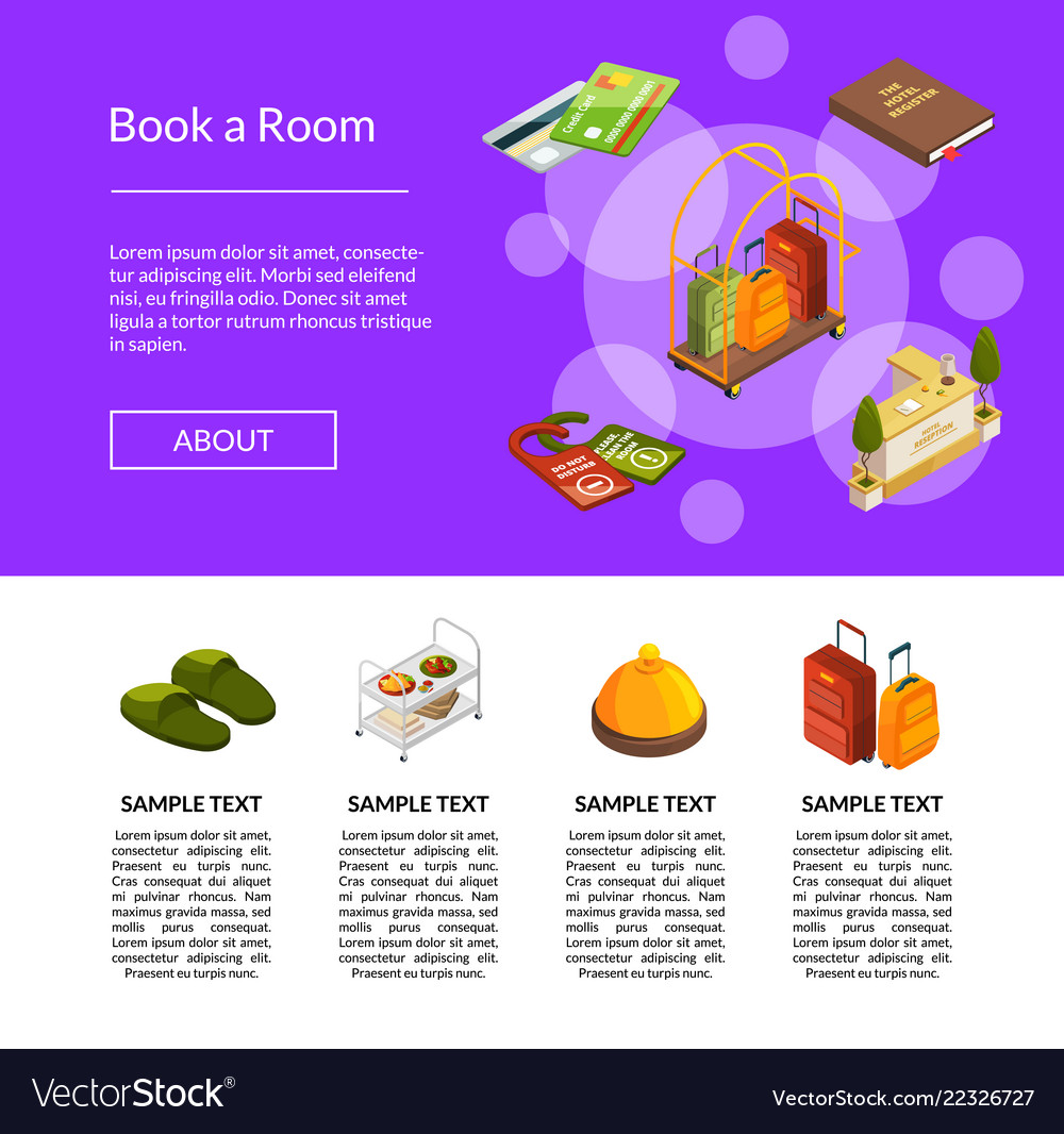 Isometric hotel icons template