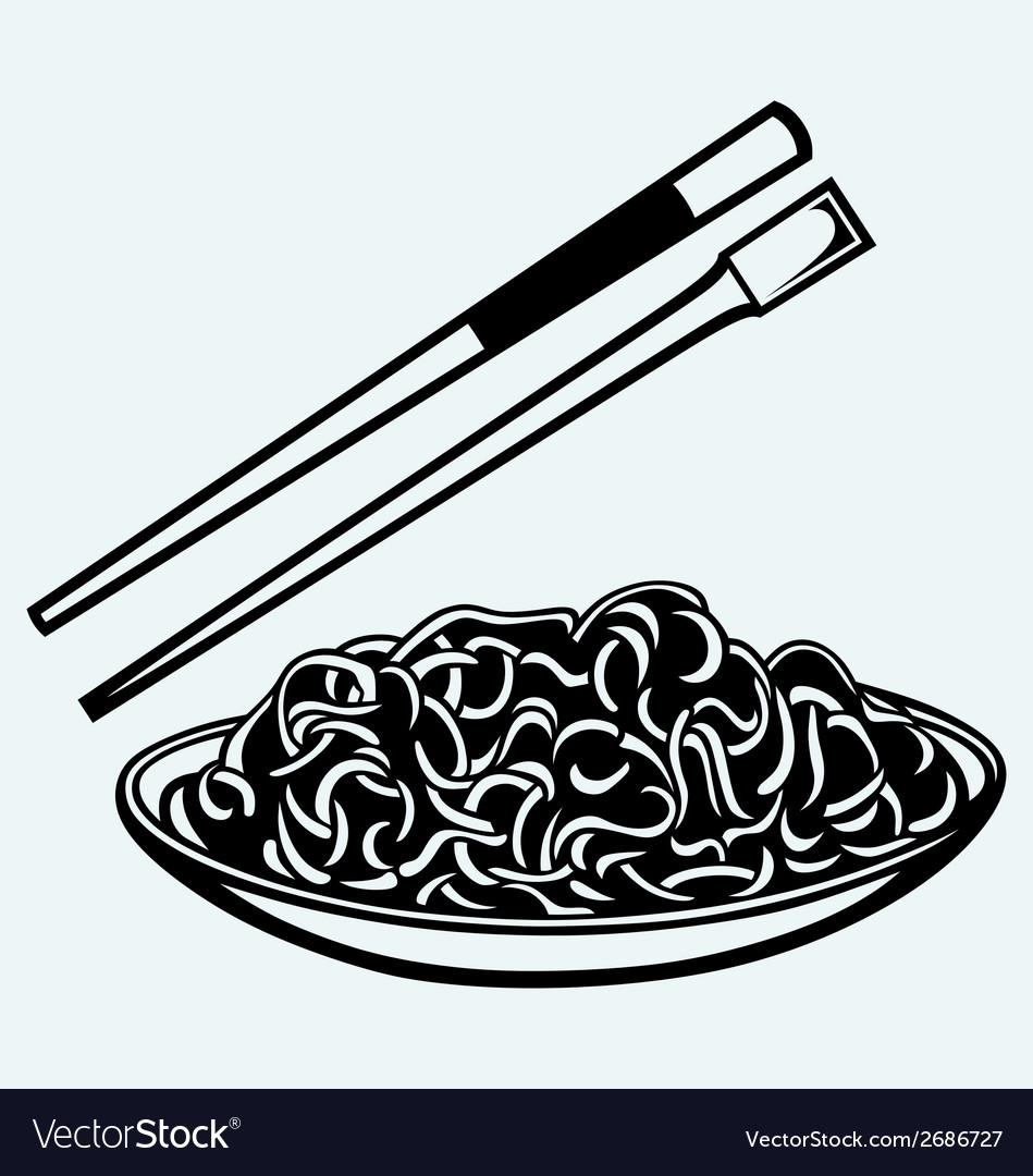 Noodle with chopsticks vector image