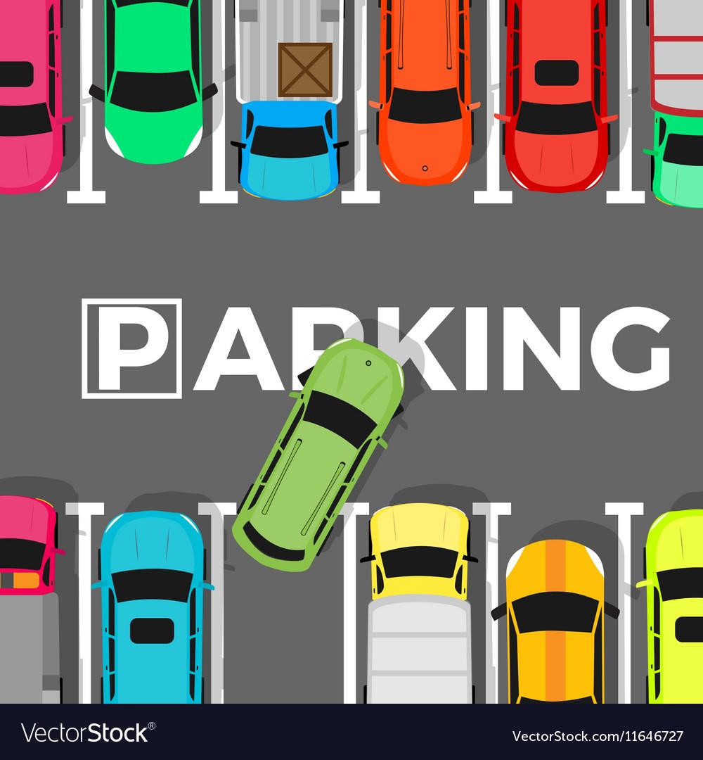 Parking Conceptual Web Banner Car Leaves Place vector image