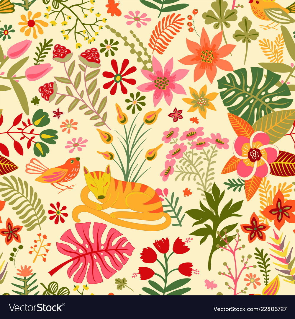 Seamless floral pattern colorful wallpaper