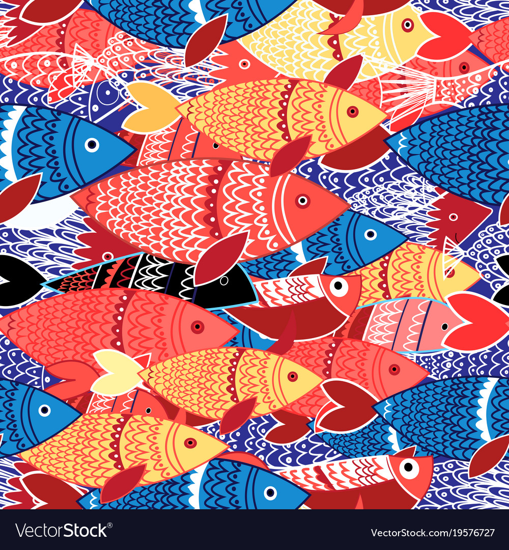 Seamless pattern of colorful fish Royalty Free Vector Image