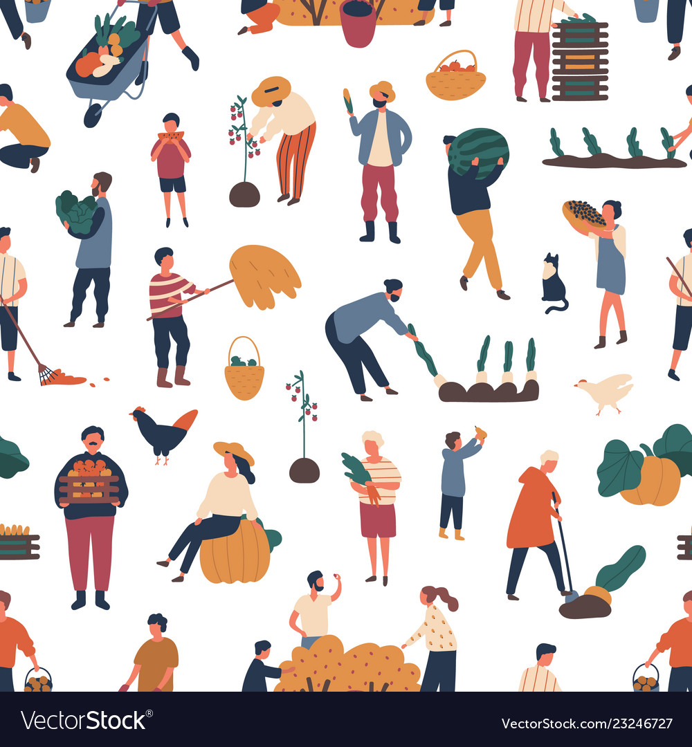 Seamless pattern with people gathering crops in