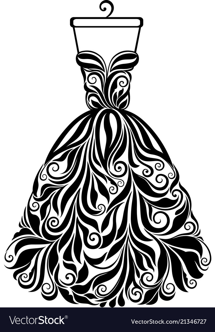 Silhouette of isolated floral back dress