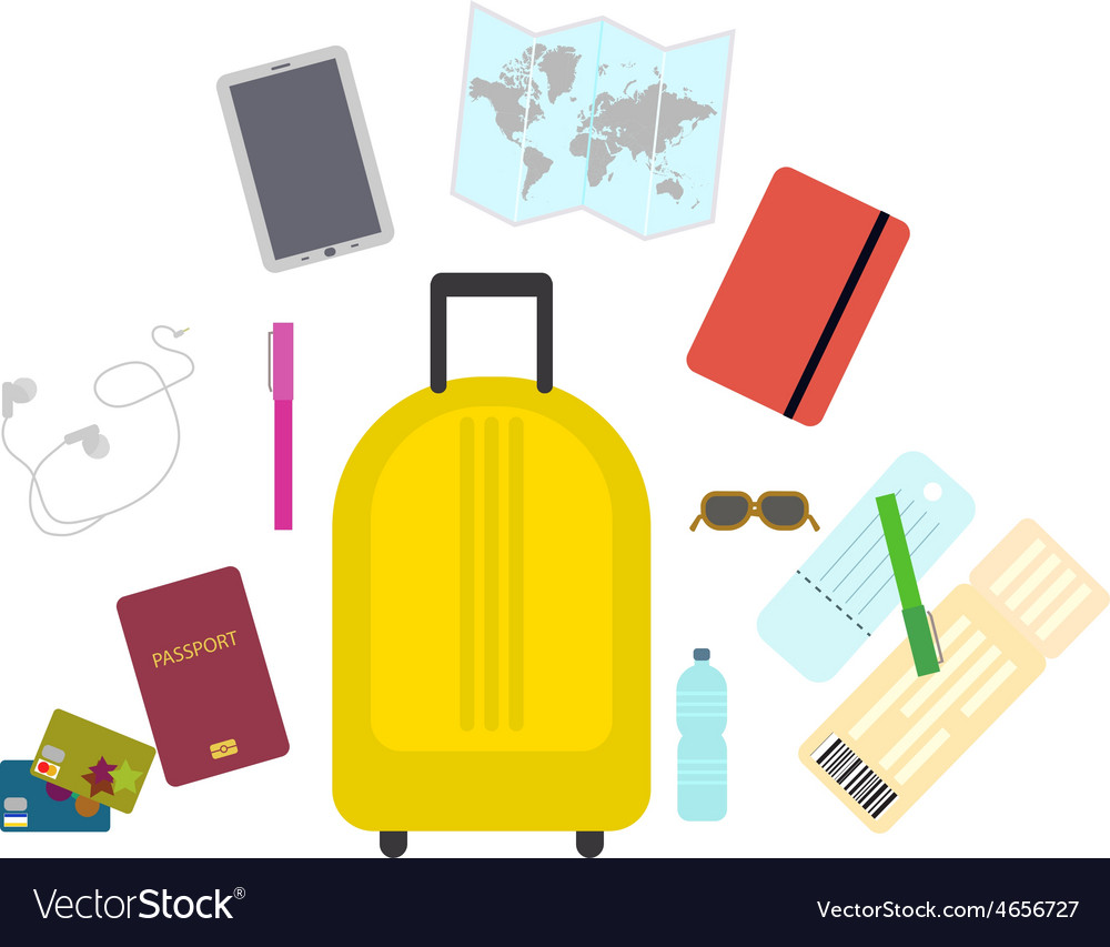 Travel set icons in flat style
